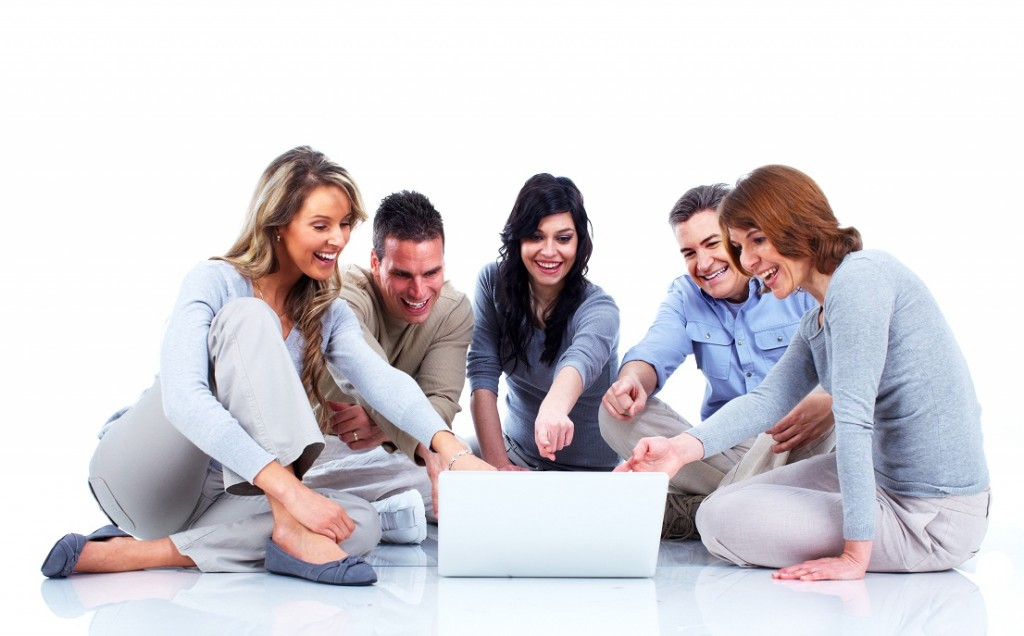 Group of people with laptop computer. Isolated over white background.
